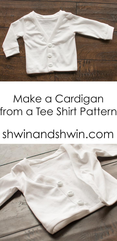 Make a cardigan from a tee shirt pattern    Shwin&Shwin