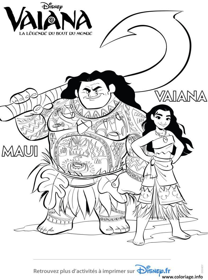 Coloriage Vaiana Et Maui De Disney Vaiana Moana Dessin  Imprimer