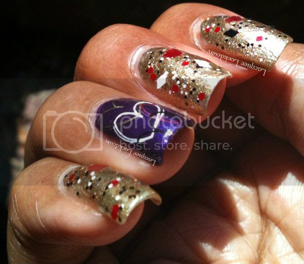 Lacquer Lockdown - Vivid Lacquer, The Harlequin's Adoration, swatch, indie polish, indie glitter polish, indie, Orly Luxe, review