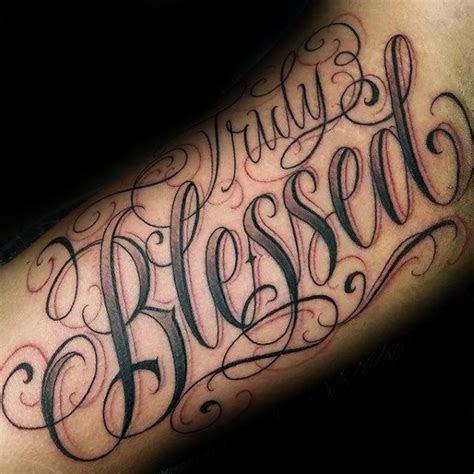 blessed tattoos men biblical lettering design