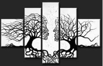 Tableau Design Amour Arbres Noir Blanc