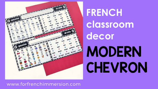 French Classroom Decor Modern Chevron - For French Immersion