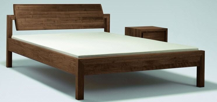 Contemporary solid wood double bed - KW WOOD - ZACK-