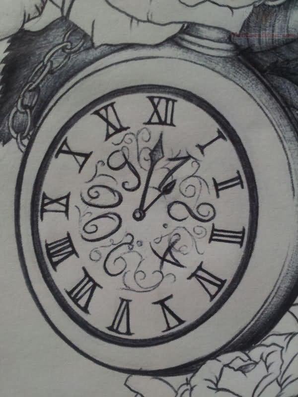 Grey Ink Outline Clock Tattoo