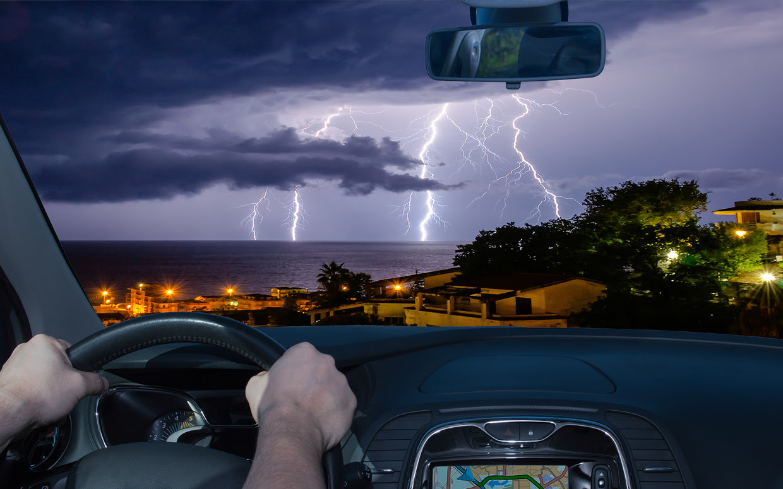 Inside Cars During A Lightning Storm
