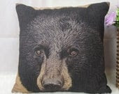 1 cotton linen simple forest mountain black bear head Pillow Cover / Cushion case 18x18 sofa decor - xinghuajiang