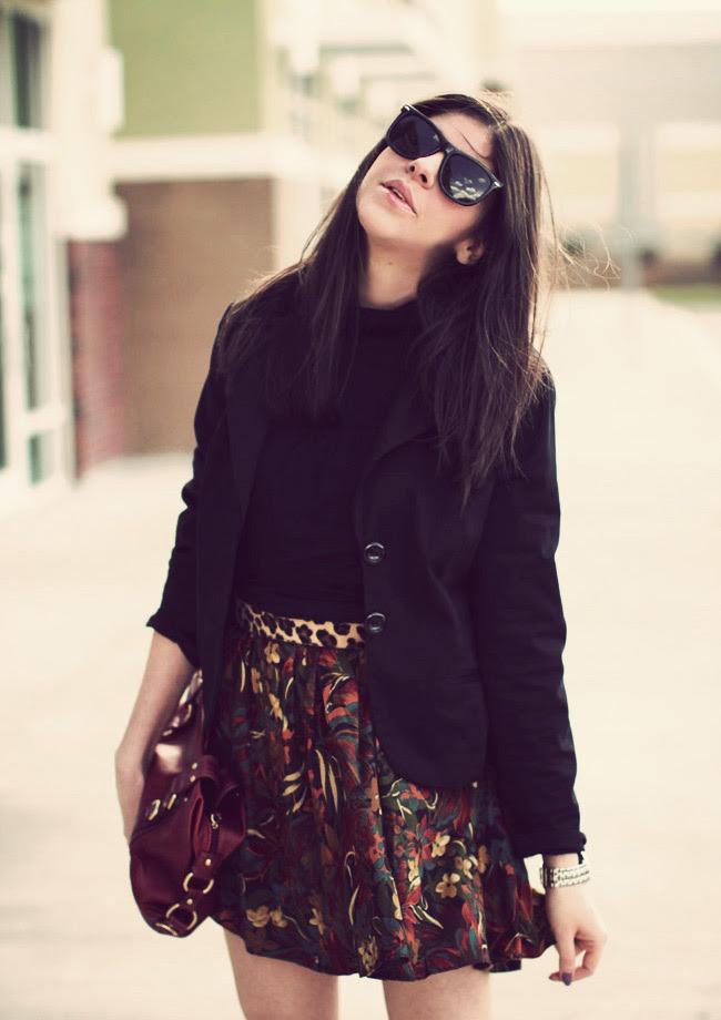 Vintage skirt, Leopard belt, Urban Outfitters, James Perse Turtleneck, Pierre Hardy Gap wedges