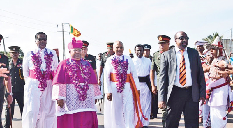 Newly appointed Bishop of Mannar being welcomed