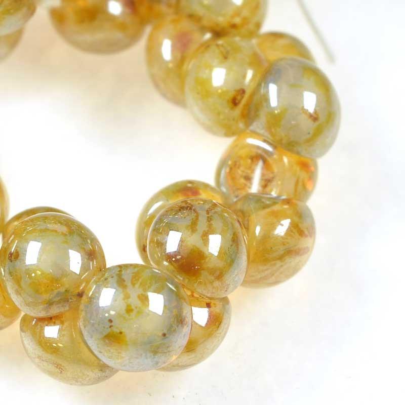 s42402 Glass Drops - 9 x 8 mm Mushroom Button Drops - Honey Drizzle Opal (25)