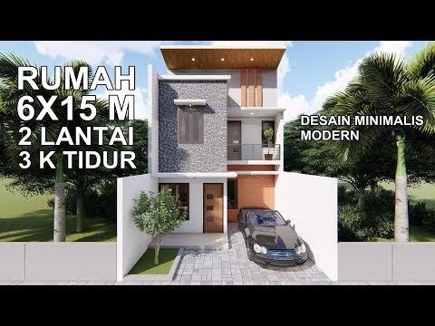 desain rumah modern 6x15 2 lantai - desain rumah