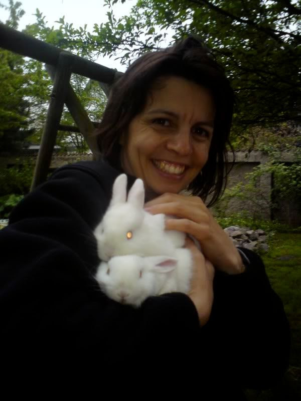 Dani Bauerfeind with the two albino bunnies
