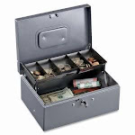 Sparco Cash Box, 5 Comptmts, Spring Clips,10-1/2x7-3/8x4-1/2, GY (SPR15507)