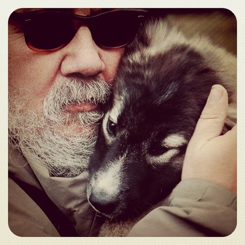 Mike Bourgault with puppy