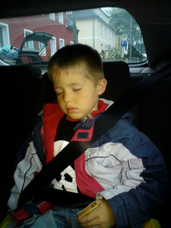 Finn not being able to wake up long enough to get out of the car