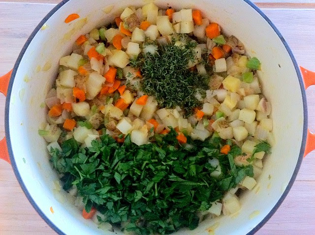 Thyme and Parsley Added to Sauted Vegetables