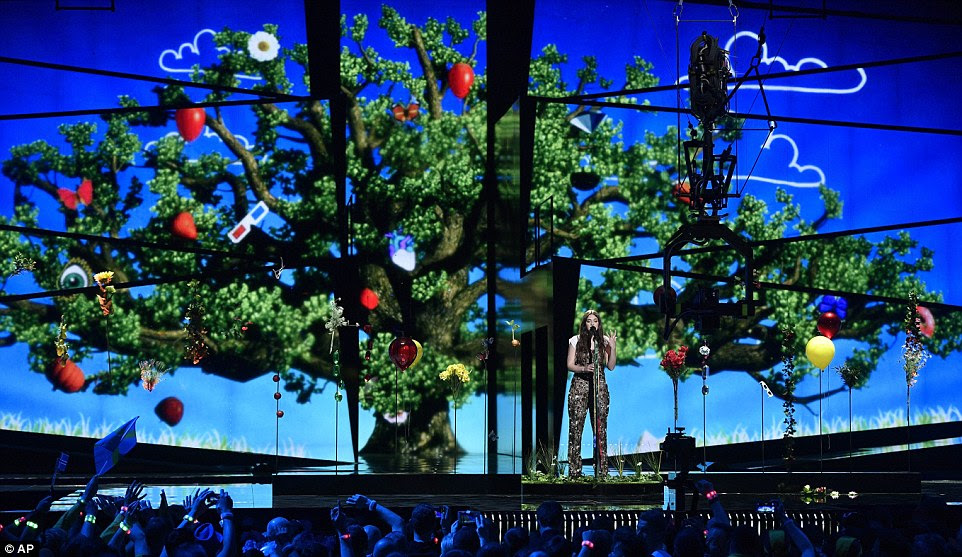 Italy's Francesca Michieli belted out the tune against a backdrop that resembled an enchanted garden with suspended balloons and flowers behind her