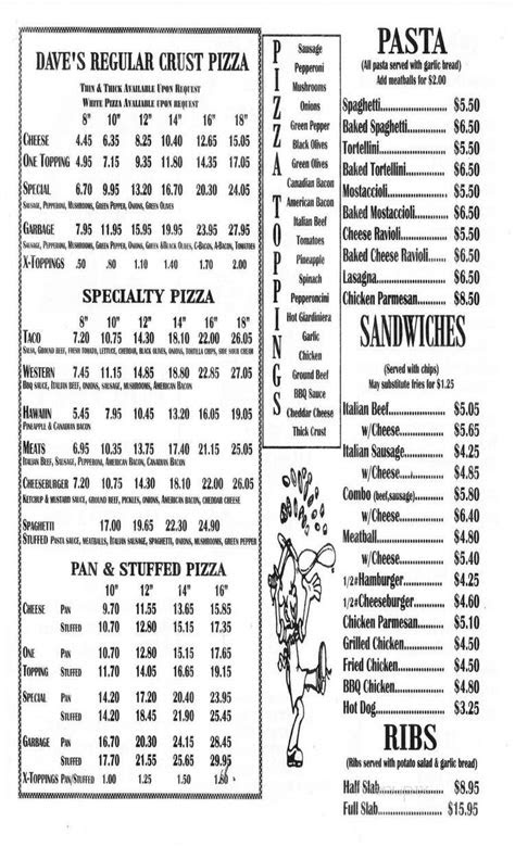 Menu of Dave's Pizza in Hinckley, IL 60520