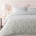 """Diva at Home 88"""" x 92"""" White, Blue and Pink Modern Style Handmade Cotton Sateen Full/Queen Set 32216884"""