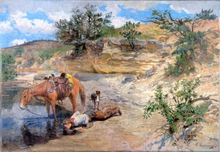 Cowboy Drinking From Water Hole