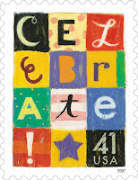 US stamp. Celebrate 41¢ single. Release date August 17, 2007. Artist Nicholas Wilton helps acknowledge happy occasions, from birthdays to anniversaries with his 'Celebrate' design.