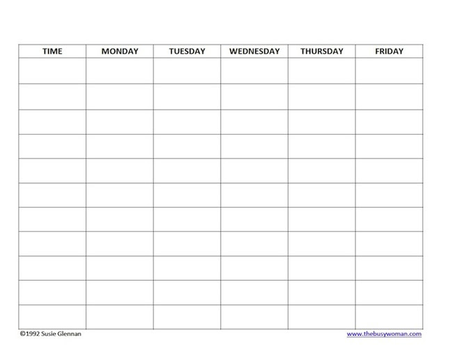 Free Homeschool Schedule Template 5 day - The Busy Woman