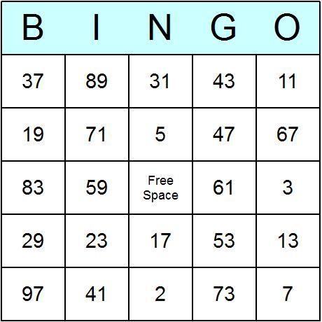 Prime Numbers under 100 Bingo Cards - Printable bingo activity ...