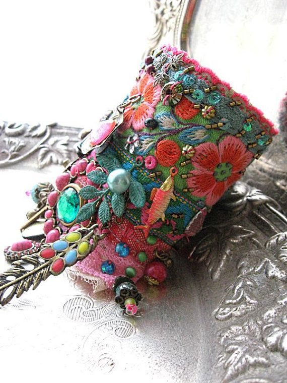 Monsoon, Gypsy Jangle, Bracelet, Bohemian Gypsy, Cuff, Vintage, Embroidery, Boho Jewelry❤️