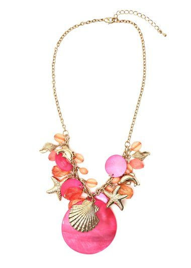 Sea Shell Necklace Pink Aquatic Beach Charms NF03 Marine Ocean Dolphin Star Fashion Jewelry: Jewelry