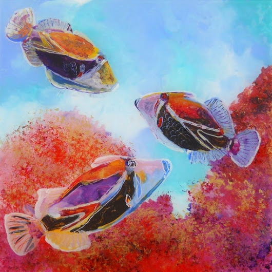 Humuhumu 5 Tropical Fish 8x8 art print giclee Hawaiian sea