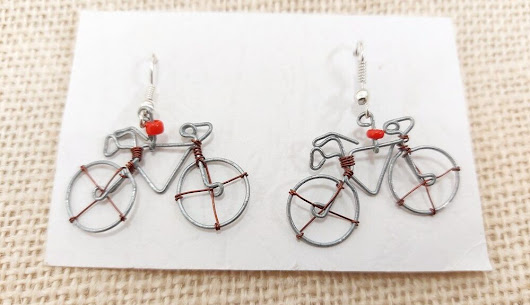 Details about Recycled Wire Bike / Bicycle Hook Earrings Handmade in Kenya with Maasai Bead