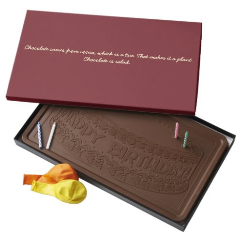 Chocolate is Salad   Funny Quote Chocolate Box