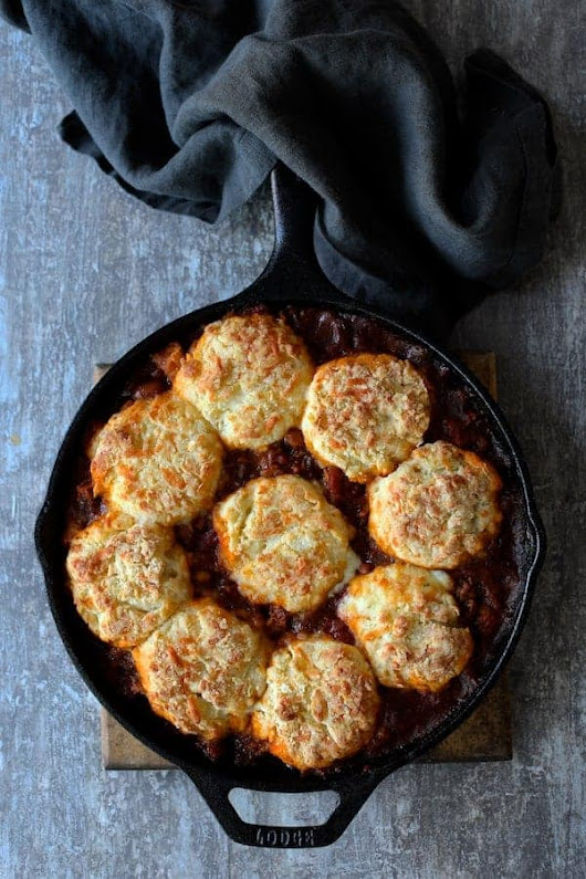 Skillet Turkey Pinto Bean Chili with Pepper Jack Biscuit Topping