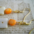 Bold Vivid Orange Shell Earrings Rustic White Natural Mother of Pearl Gold Beaded Jewelry