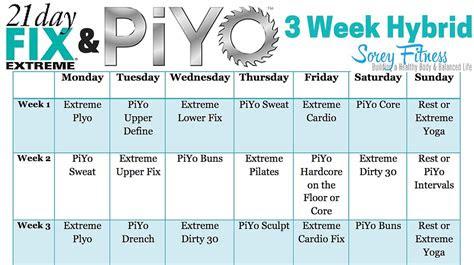 day fix extreme piyo hybrid workout calendar  day