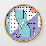 Memphis Pattern - 80s Retro - Pastel Colors Wall Clock by Graphicwavedesign - Natural - White