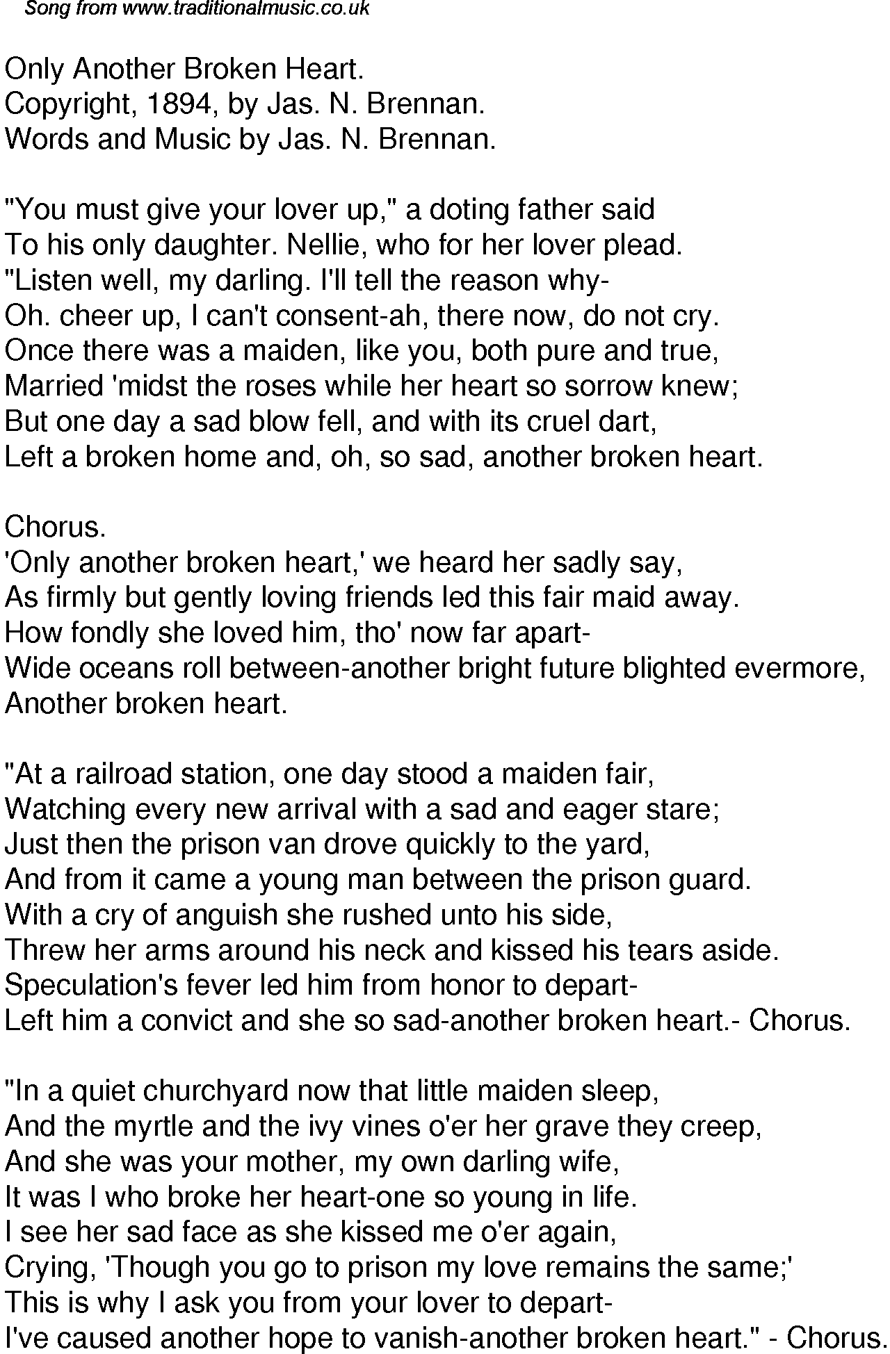 Old Time Song Lyrics For 45 Only Another Broken Heart