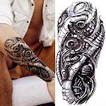 Large Wolf Tiger Owl Tattoo Sticker Evil Death Skull Devil Black Temporary Tattoo For Men Kids Women Fake Tribal Totem Tatto GXQB109