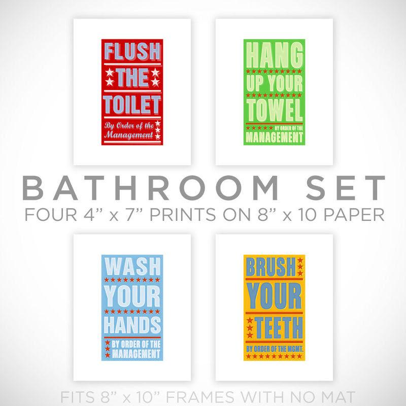 Kids Room Art Bathroom Decor Set Of 4 Prints By Order Of The