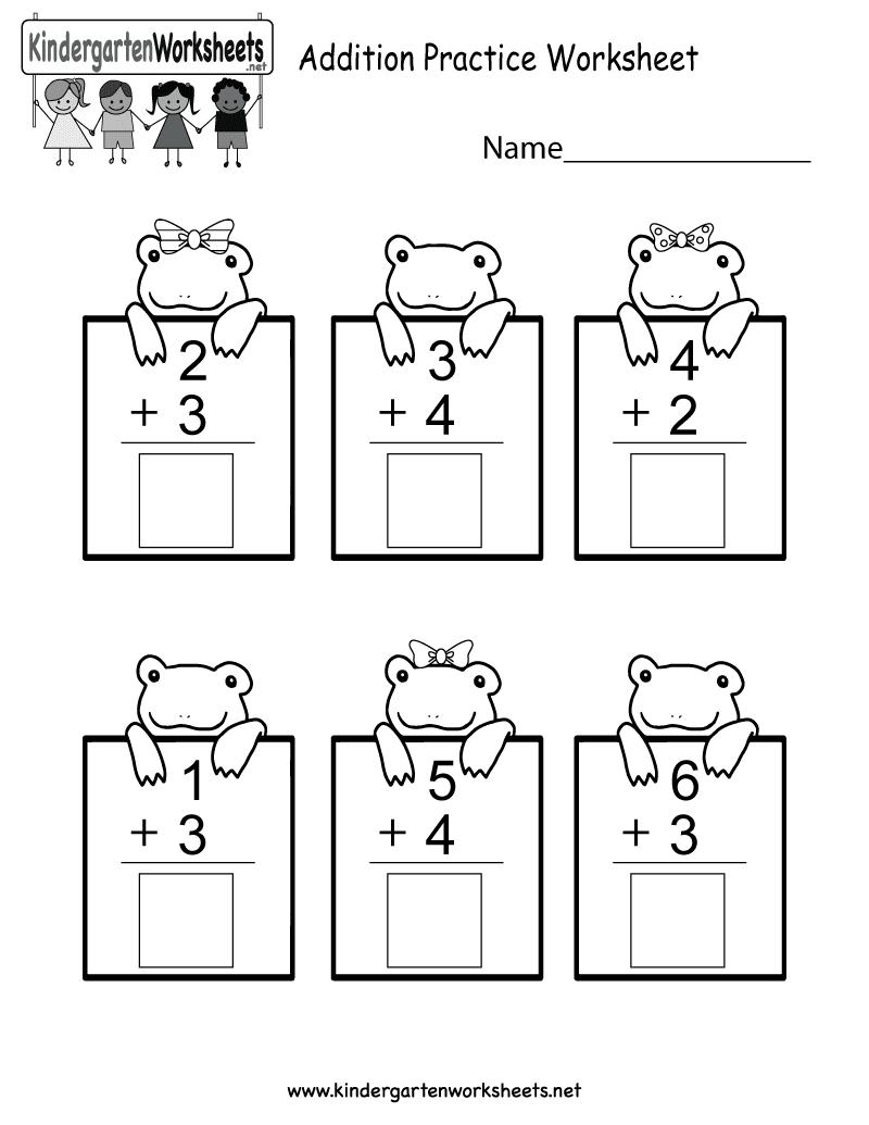 Practice Adding Math Worksheet  Free Kindergarten Worksheet for Kids