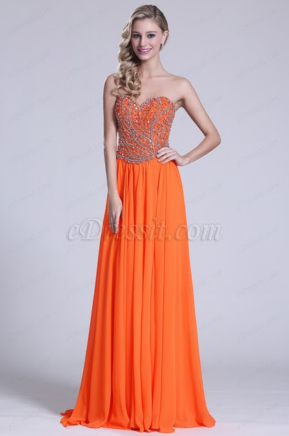 Glamorous Strapless Sweetheart Orange Prom Gown