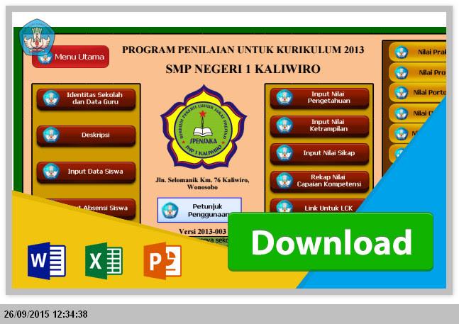 Excel Aplikasi Raport SMP Kurikulum 2013 untuk Penilaian dan Pengisian Terbaru 2015