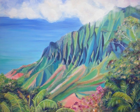 kauai art prints kalalau valley paintings hawaii print