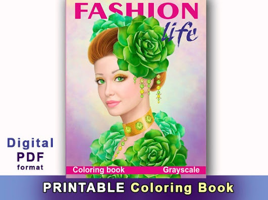 Printable Digital Download  Fashion  Life Coloring Book