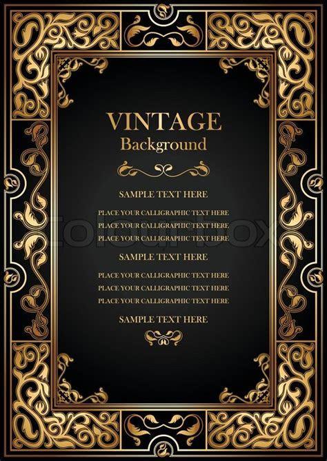 Vintage black background, antique gold frame, victorian