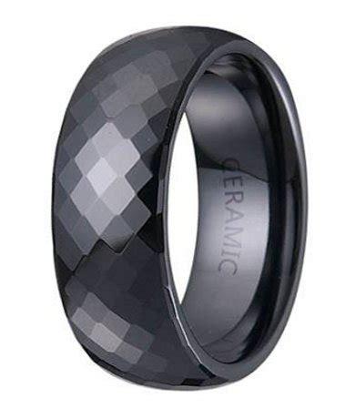 Mens Black Ceramic Ring  Glossy Finish