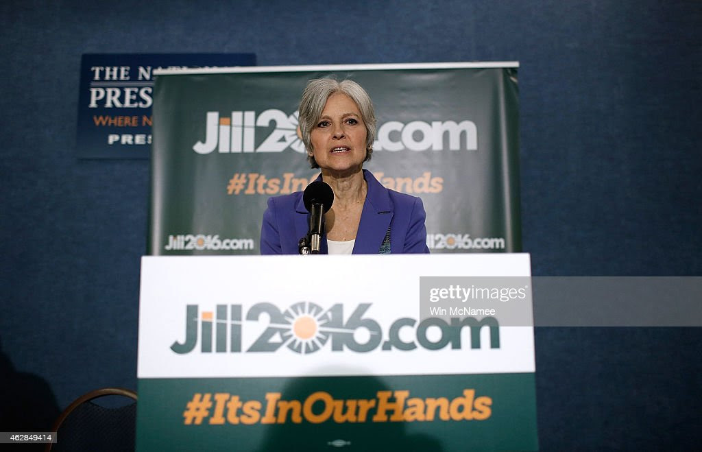 Green Party presidential nominee Jill Stein speaks at the National Press Club February 6, 2015 in Washington, DC. Stein announced the formation of an exploratory committee to seek the Green Party's presidential nomination again in 2016.
