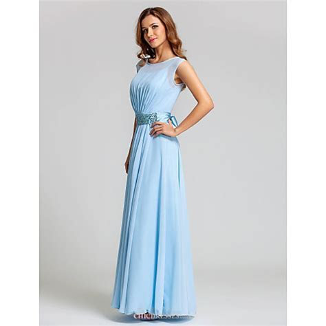 Ankle length Chiffon / Stretch Satin Bridesmaid Dress