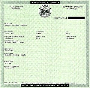 Scanned image of Barack Obama's Birth Certific...