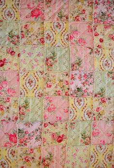 Shabby Chic Rag Quilt, Reserved for TKateri, Summer Rose Garden, pink, green, yellow, & soft red with ivory colored backing.