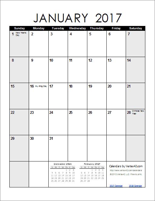March 2017 calendar portrait